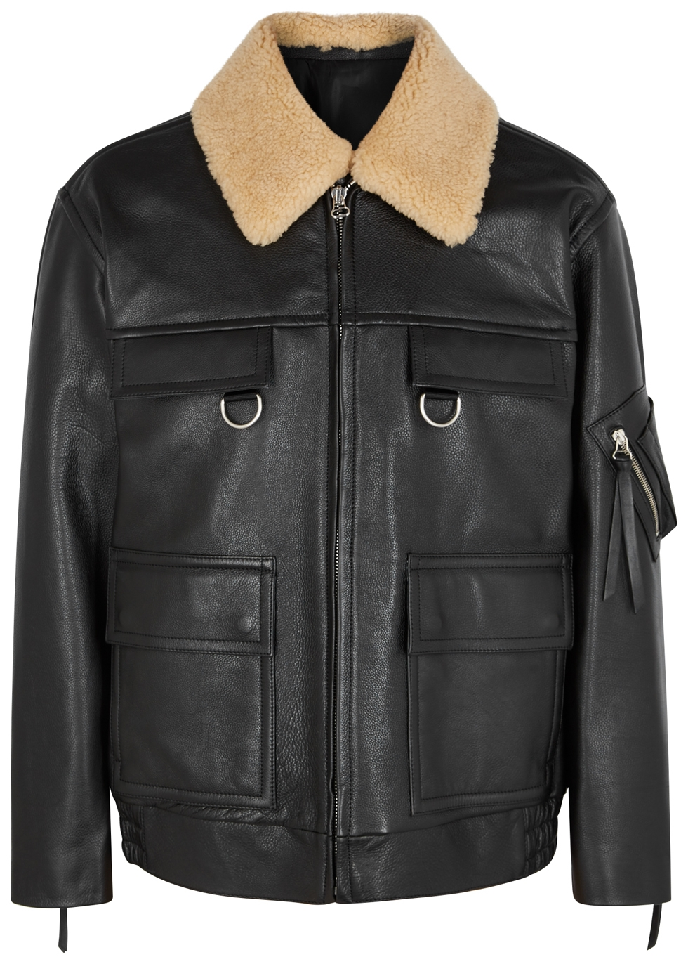 SOLID HOMME Black Shearling-Trimmed Leather Jacket