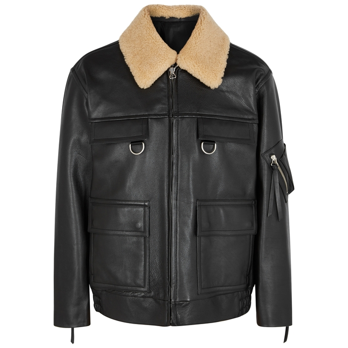 Solid Homme BLACK SHEARLING-TRIMMED LEATHER JACKET