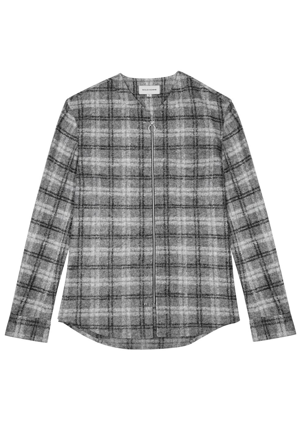 SOLID HOMME GREY CHECKED TEXTURED SHIRT