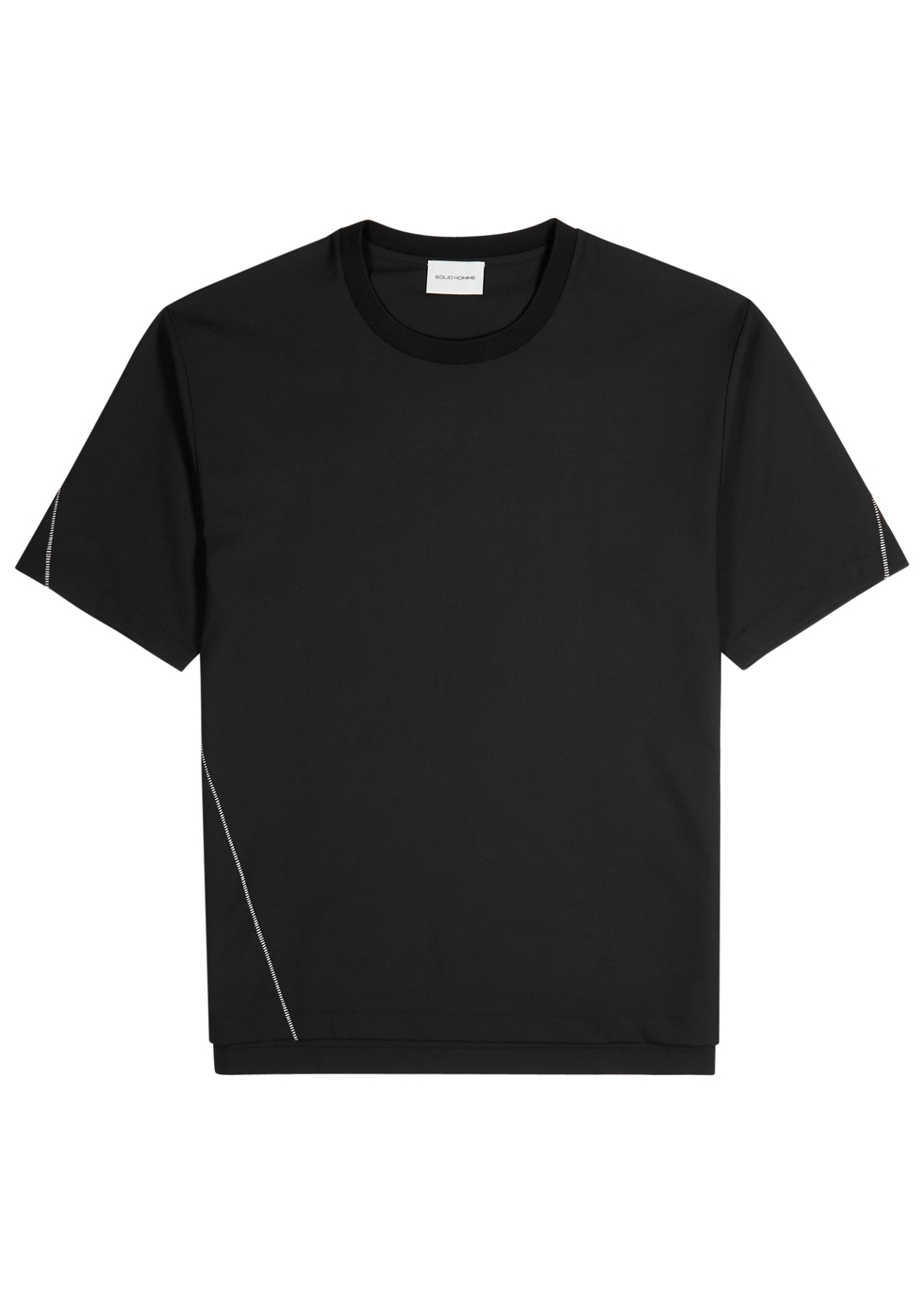 SOLID HOMME BLACK WOOL-BLEND T-SHIRT