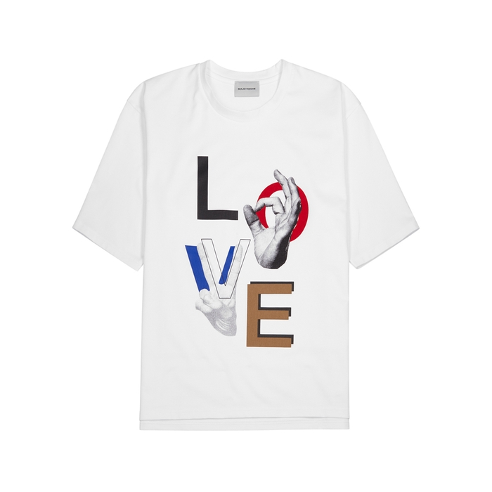 Solid Homme LOVE PRINTED WHITE T-SHIRT