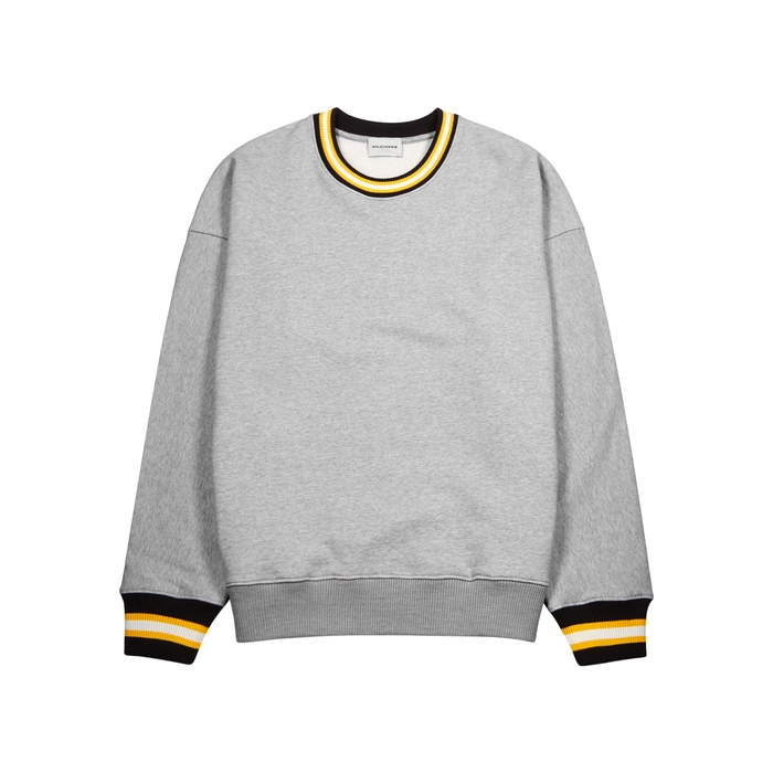 Solid Homme GREY STRIPED TRIM COTTON SWEATSHIRT