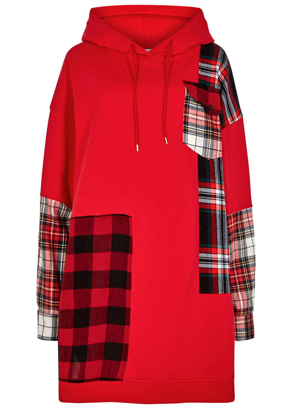 Hooded Oversized Patchwork Cotton-Jersey And Checked Flannel Dress, Red
