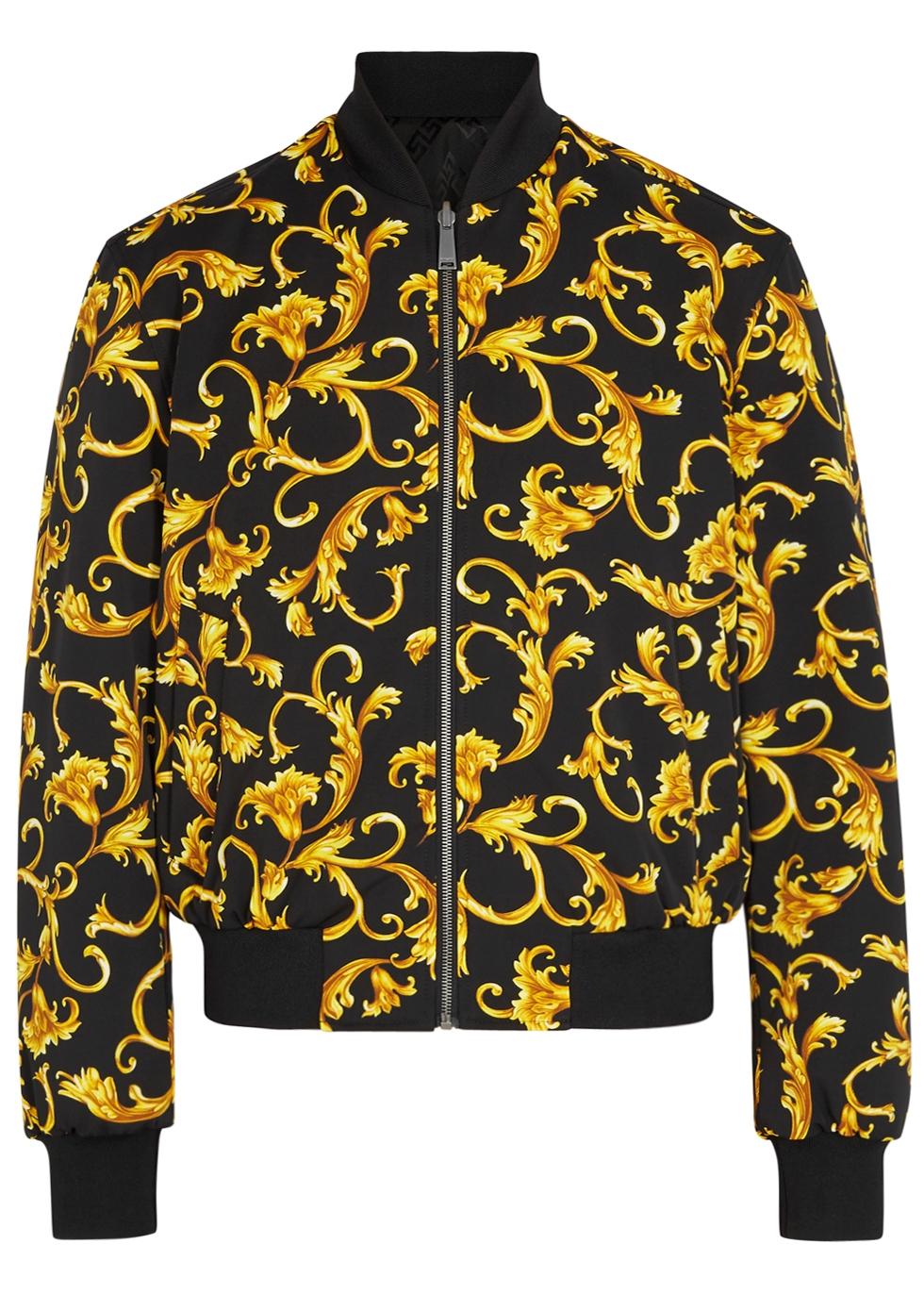 Versace Baroque Print Reversible Shell Bomber Jacket In Black