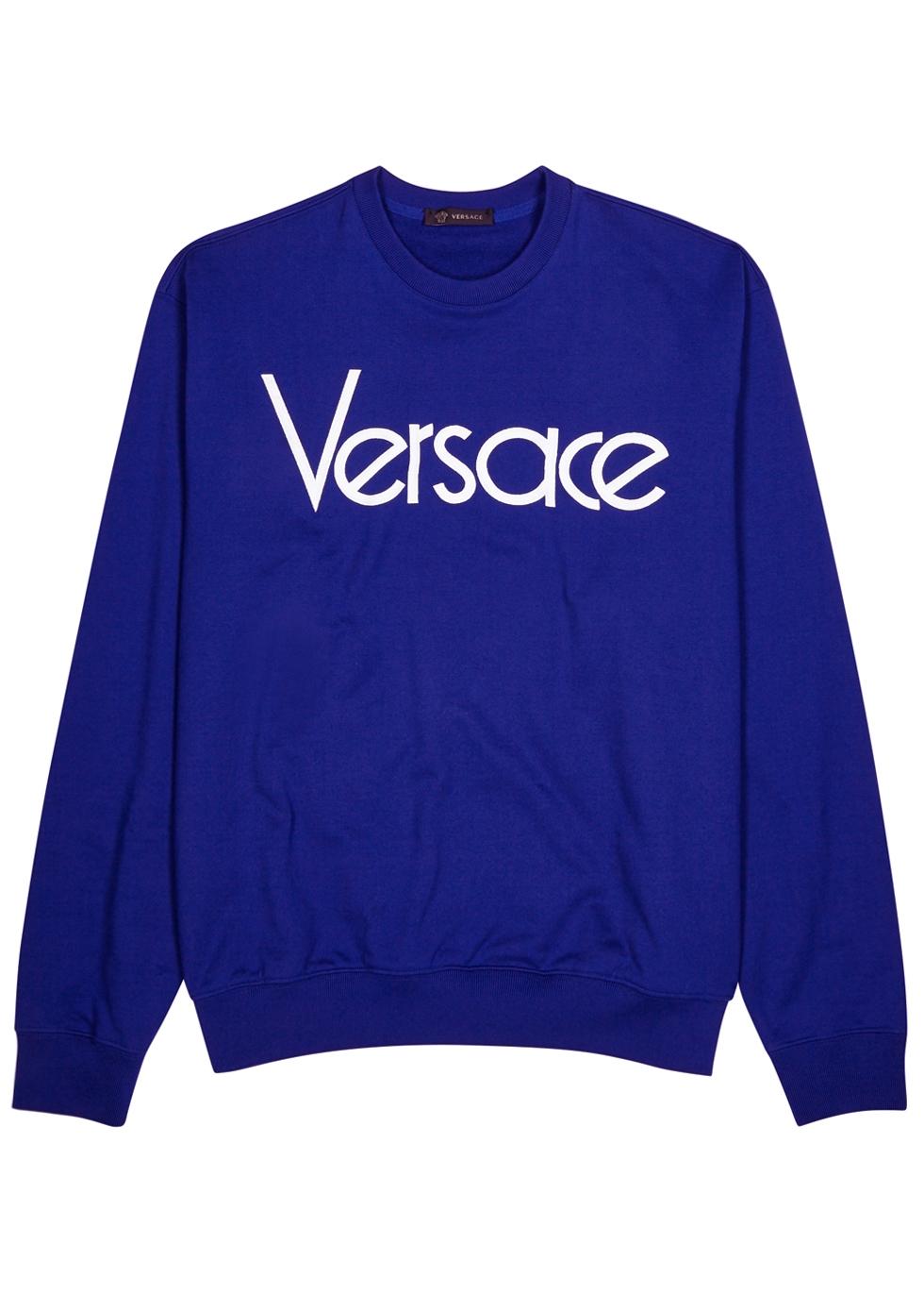 VERSACE Logo-Embroidered Loopback Cotton-Jersey Sweatshirt, Blue