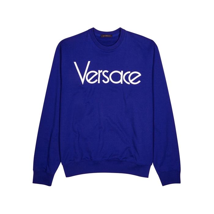 Versace Blue Logo-embroidered Cotton Sweatshirt