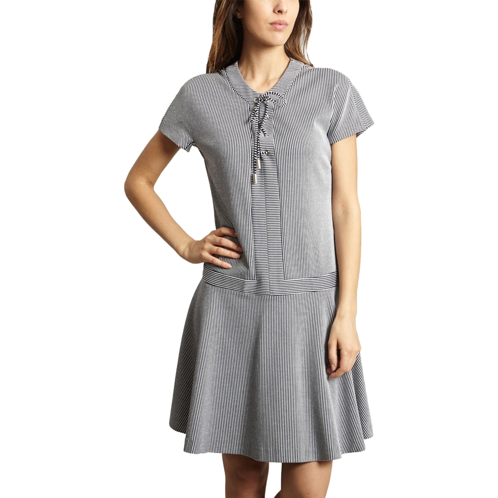 CACHAREL STRIPED LACE-UP DRESS