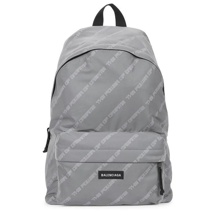 Balenciaga Silver Printed Shell Backpack