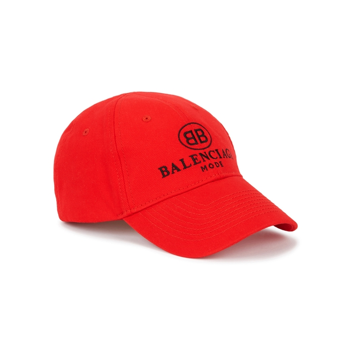 Balenciaga Red Embroidered Twill Cap