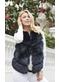 Faye faux fur gilet in navy - Popski London