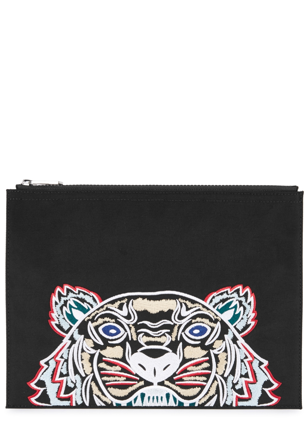 TIGER-EMBROIDERED CANVAS POUCH
