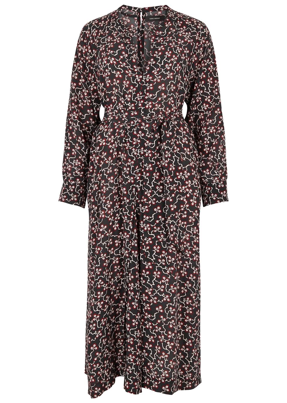 Lympia Floral-Print Silk Midi Dress, Black