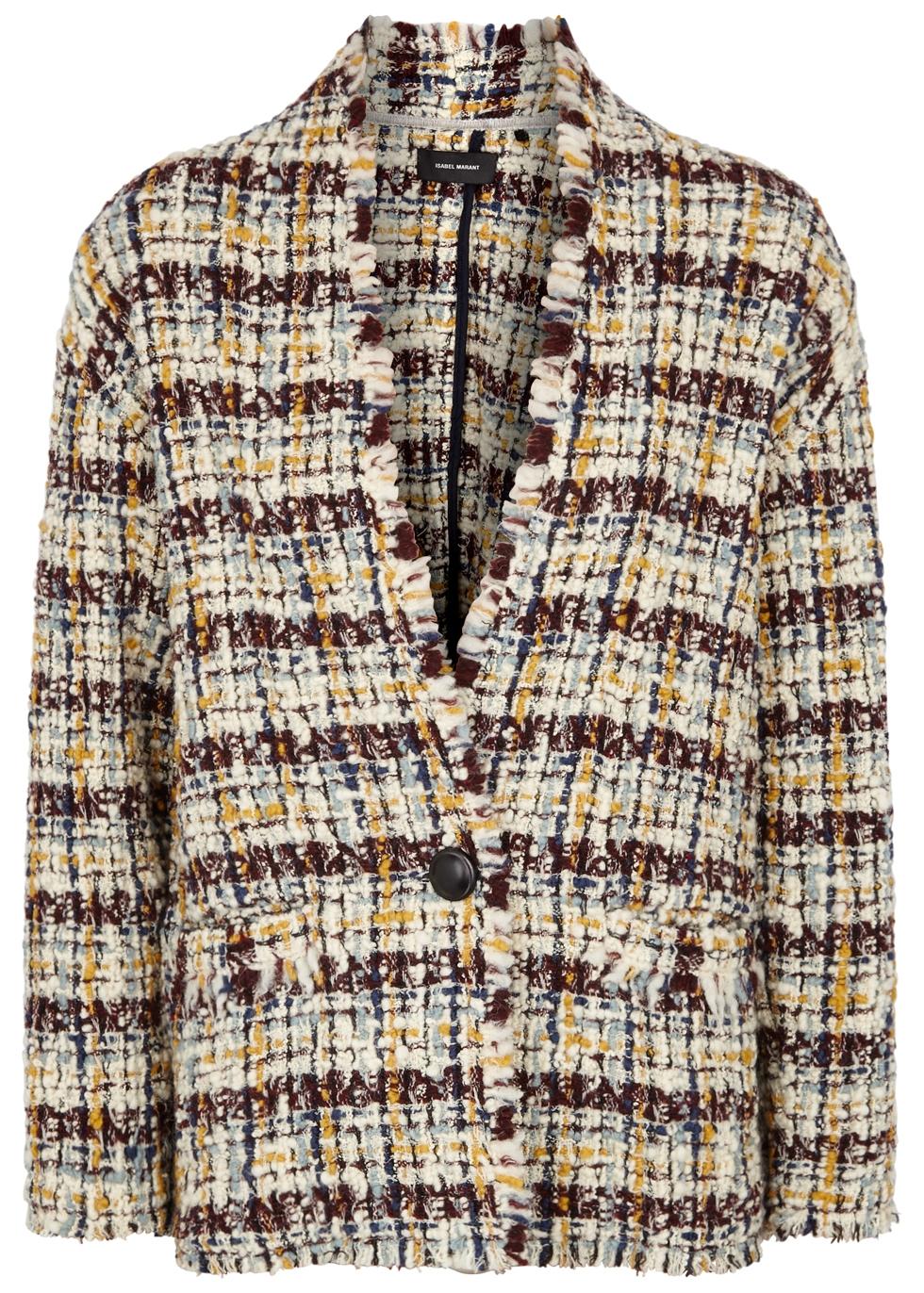Iliana Tweed Round Shoulder Jacket, Multicoloured