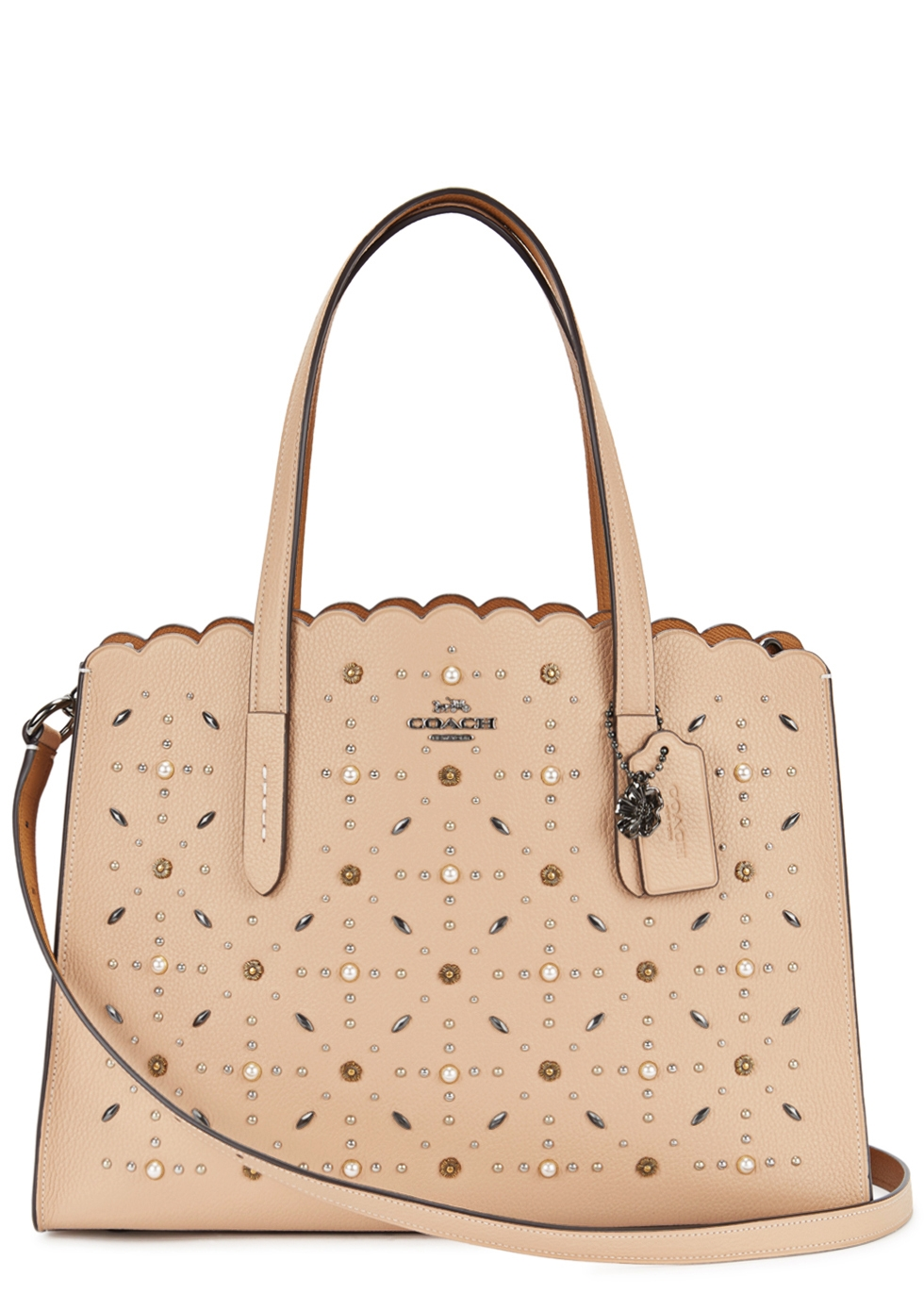 CHARLIE STUDDED LEATHER TOTE