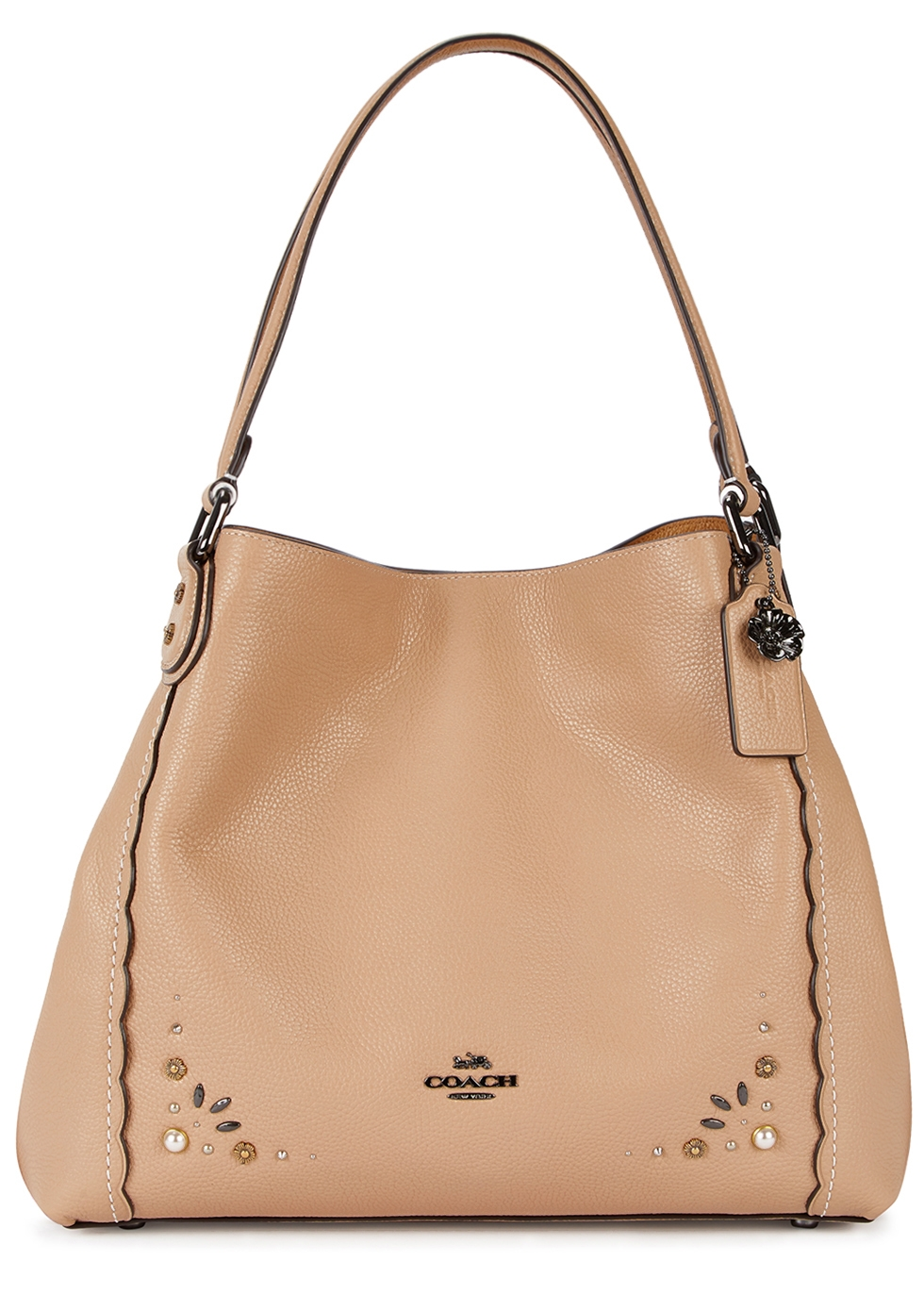 EDIE 31 ALMOND EMBELLISHED LEATHER TOTE