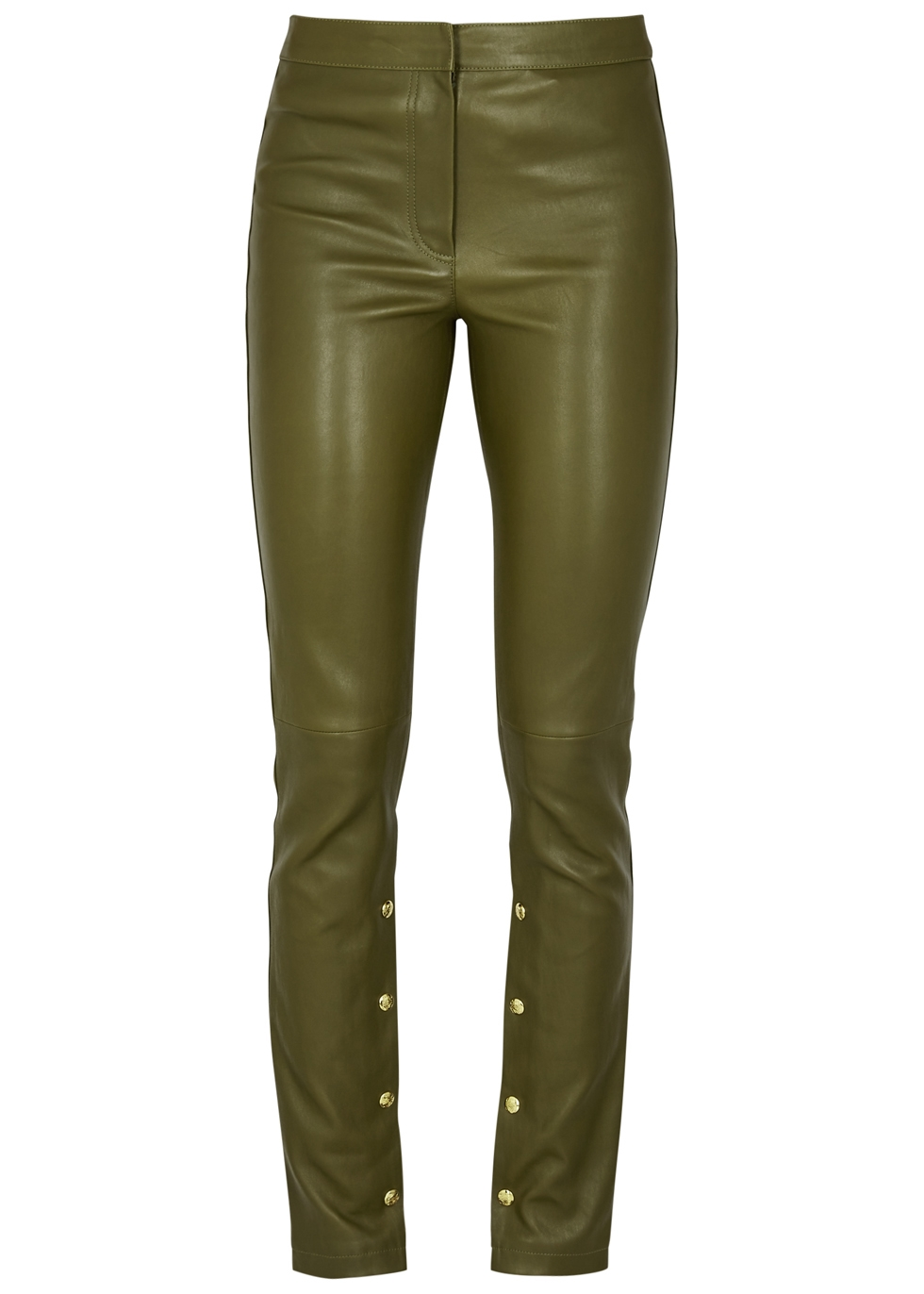 OLIVE SKINNY LEATHER TROUSERS