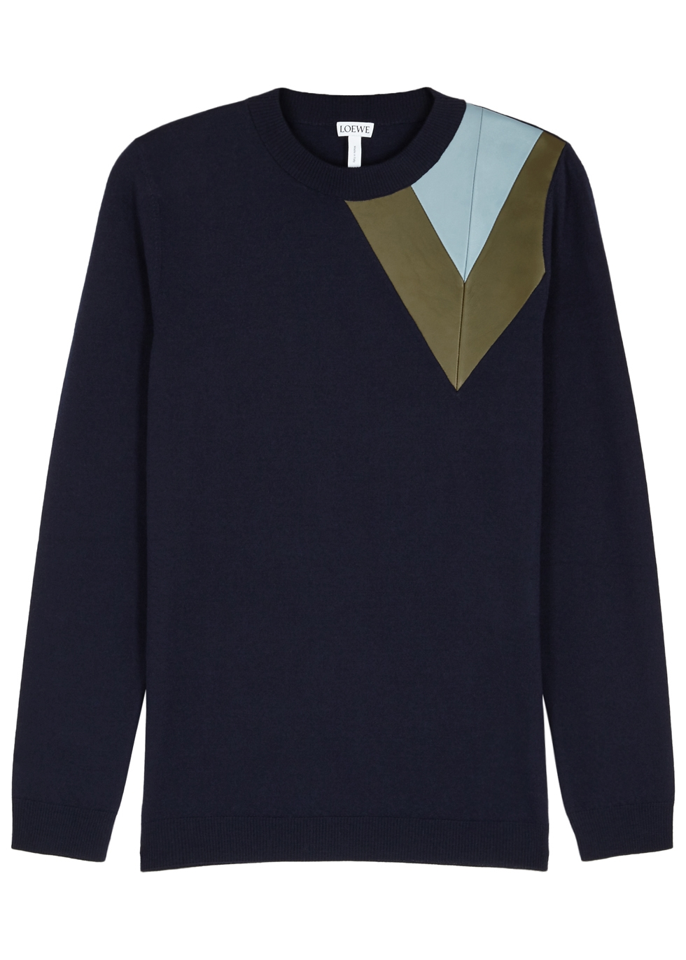LEATHER CHEVRON SHOULDER WOOL SWEATER