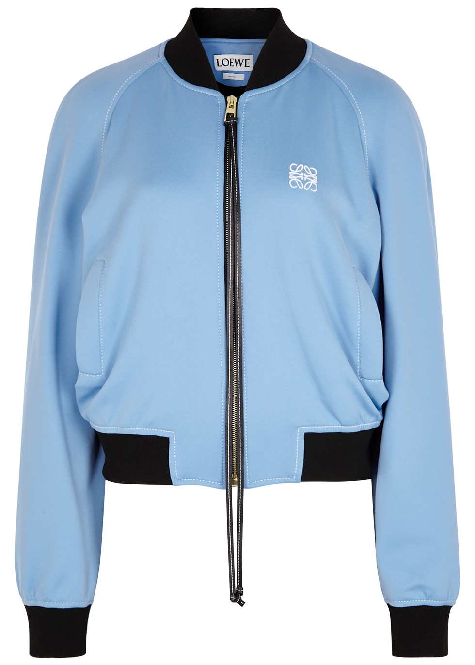 LOEWE BLUE AND NAVY JERSEY BOMBER JACKET