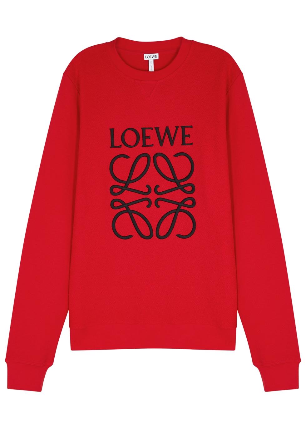 LOEWE RED LOGO-EMBROIDERED COTTON SWEATSHIRT