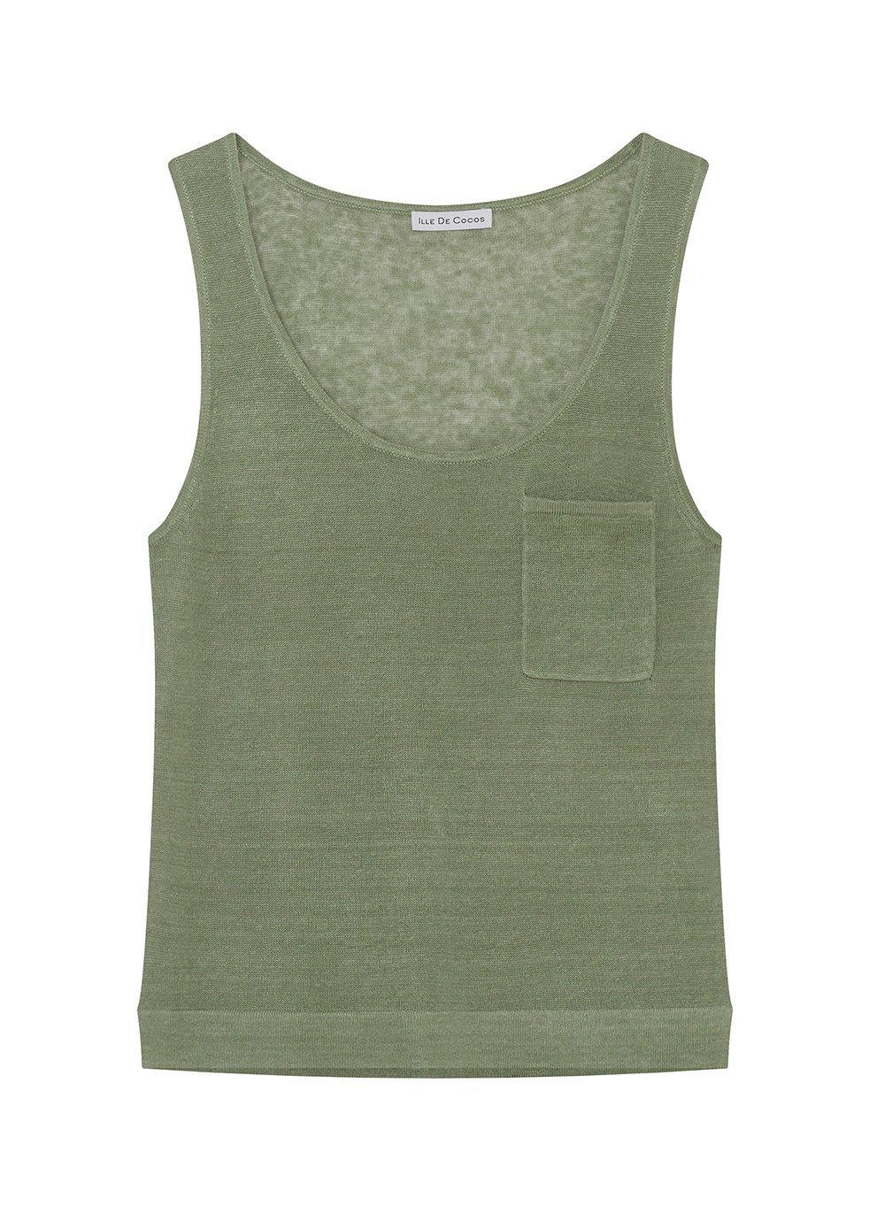 ILLE DE COCOS Ille De Cocos Linen Gauze Vest - Sage