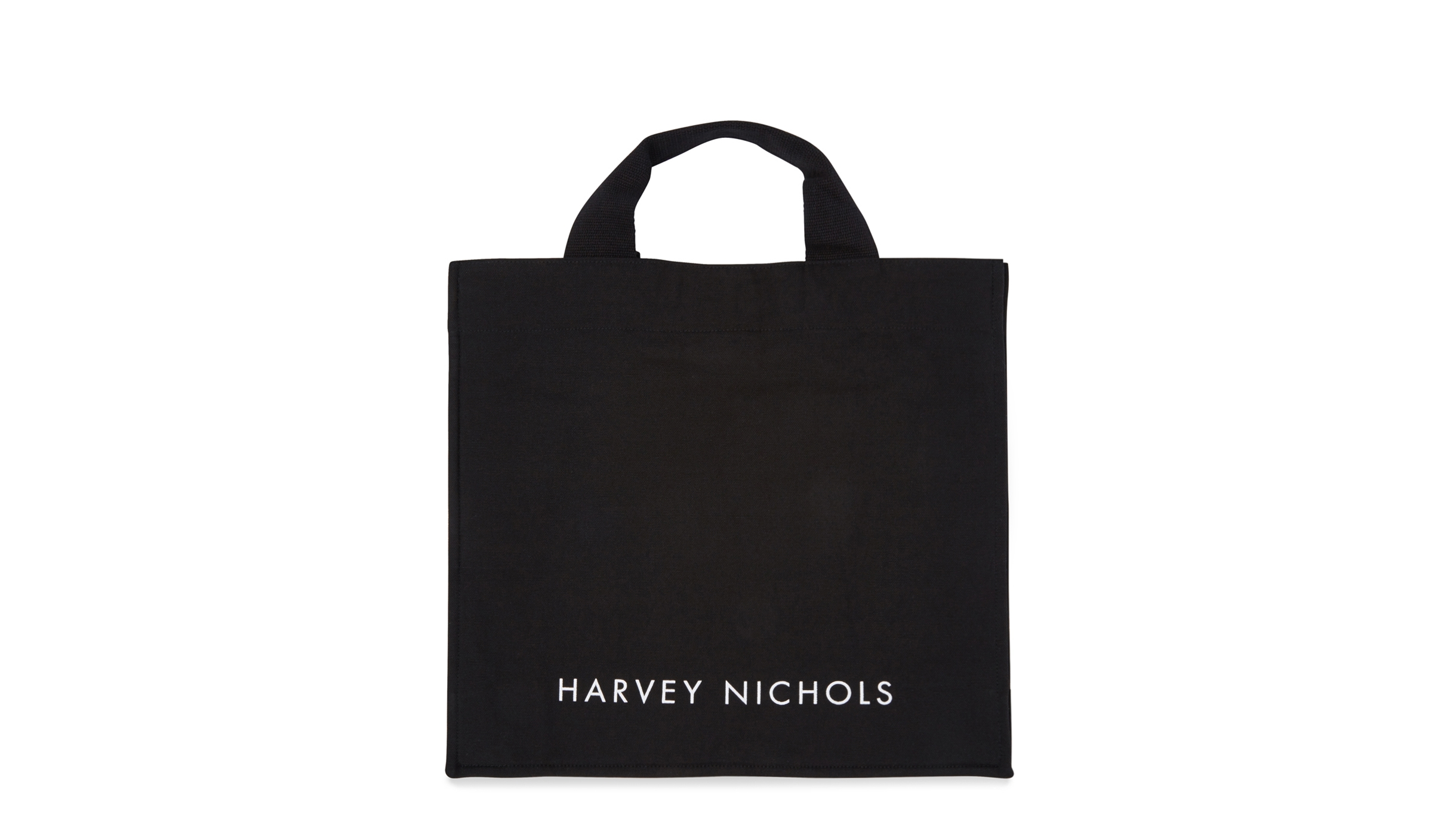 90df84cd3031 Harvey Nichols Short Handle Black Canvas Tote Bag