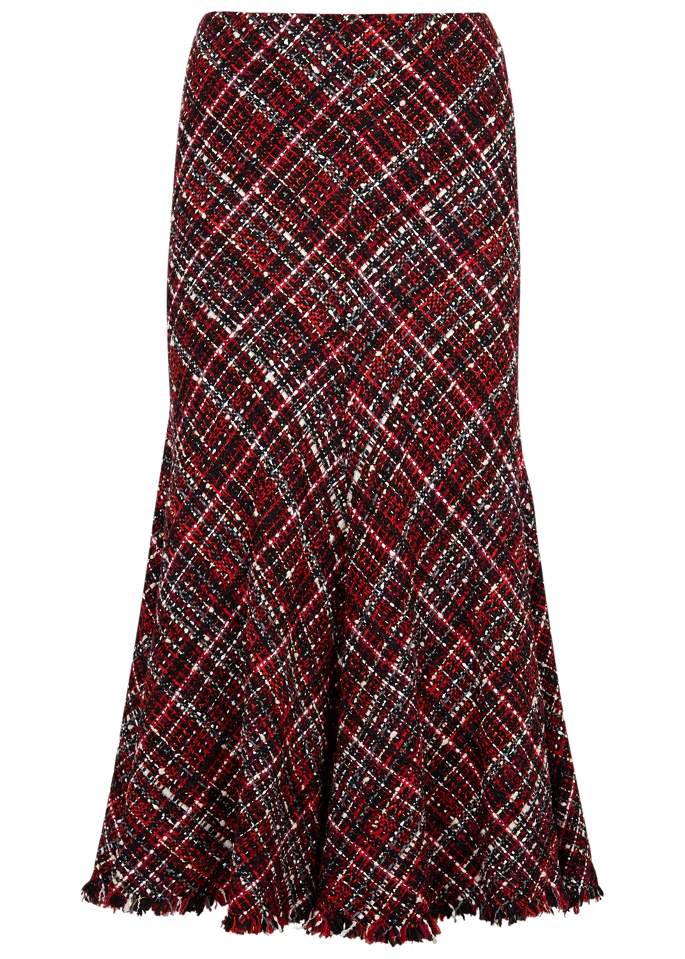 High-Waisted Bouclé Tweed Midi Skirt, Black