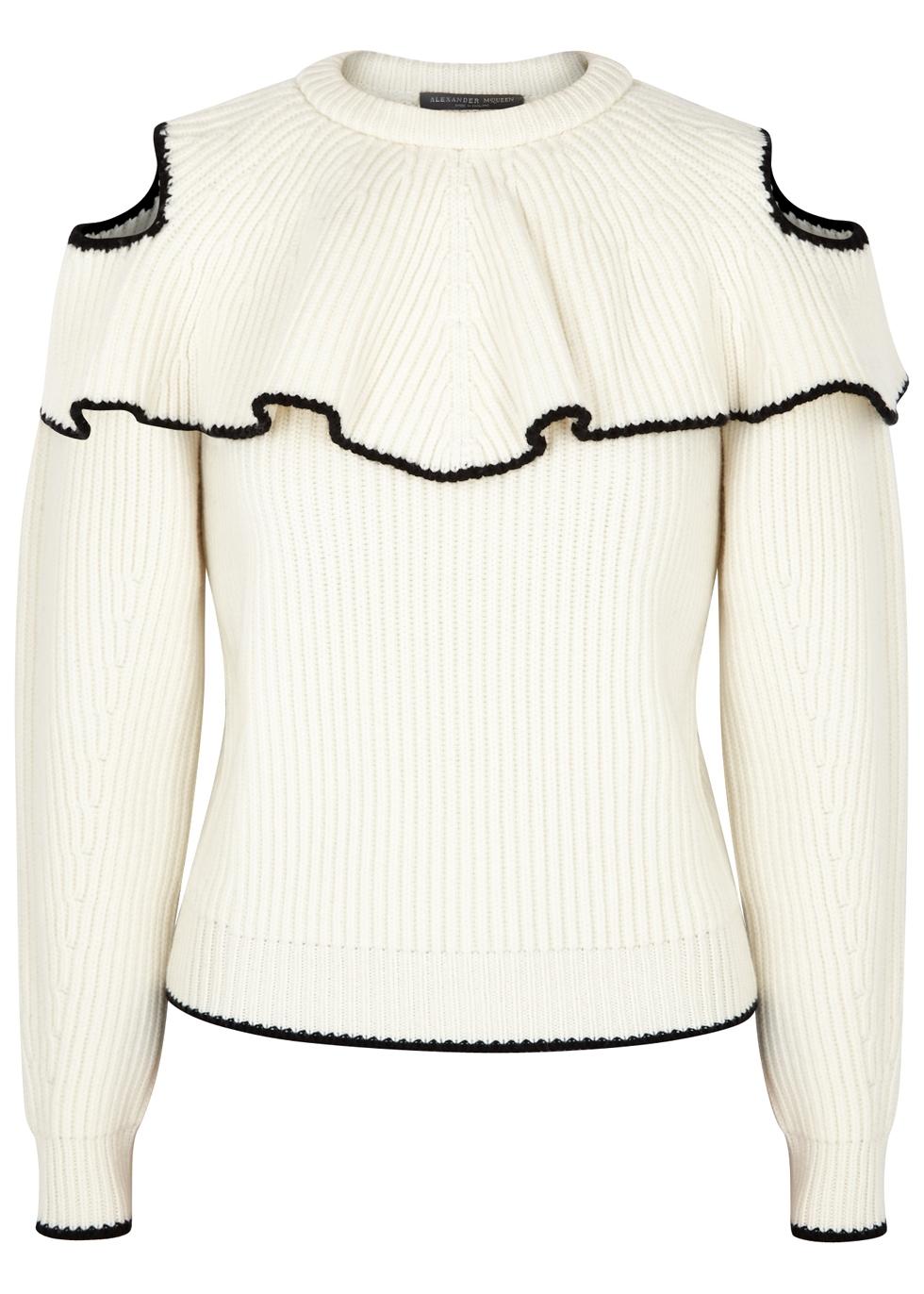 Cream Open-Shoulder Wool-Blend Jumper, Ivory