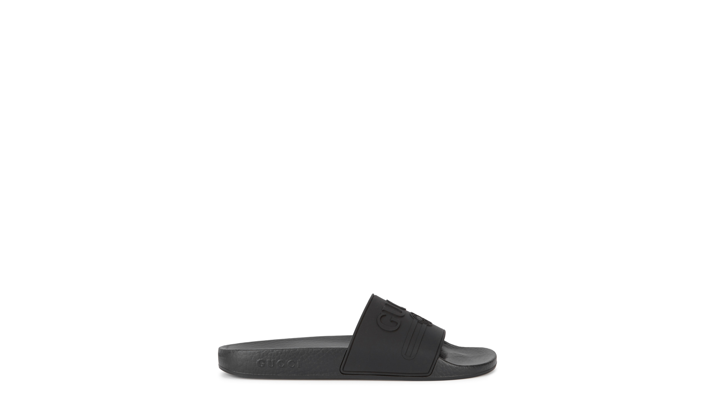 ea5a51aff4355f Gucci Pursuit black rubber sliders - Harvey Nichols