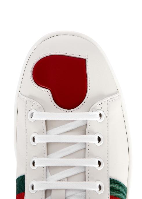 f87152a40a9 Gucci Ace heart-embellished leather trainers - Harvey Nichols