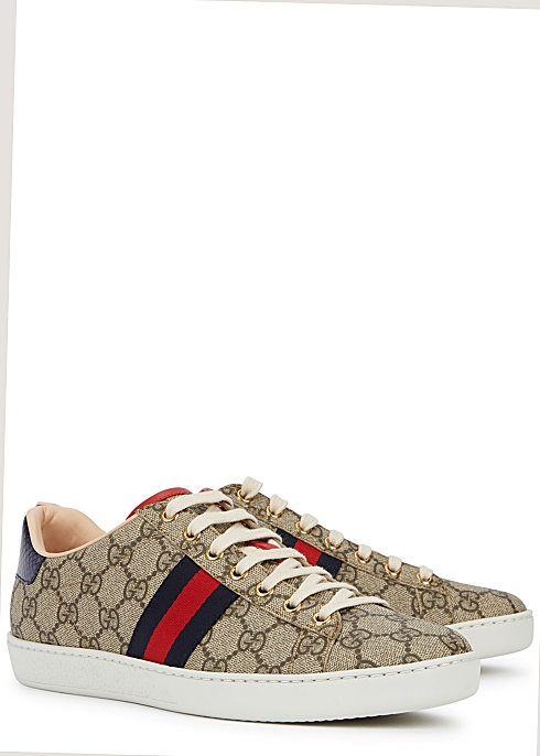 95f2980df Gucci New Ace GG Supreme taupe sneakers - Harvey Nichols