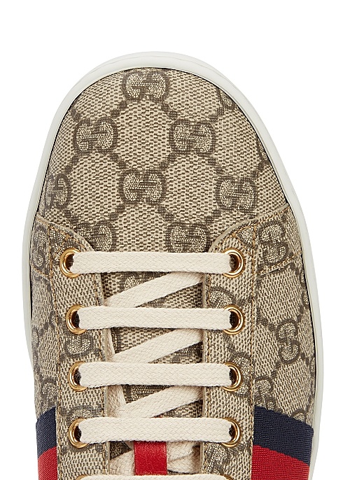 95cac9077 Gucci New Ace GG Supreme taupe trainers - Harvey Nichols