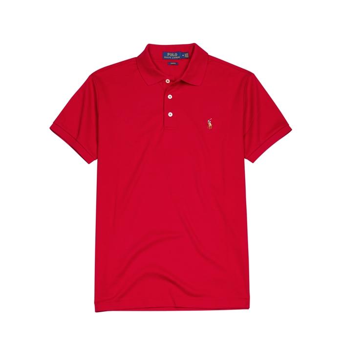 Polo Ralph Lauren Red Slim Pima Cotton Polo Shirt thumbnail