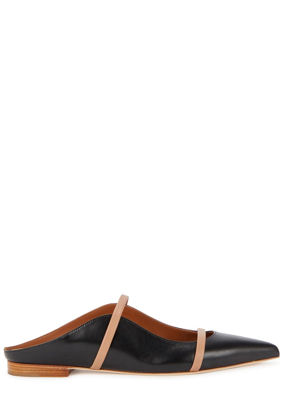 Maureen black leather mules