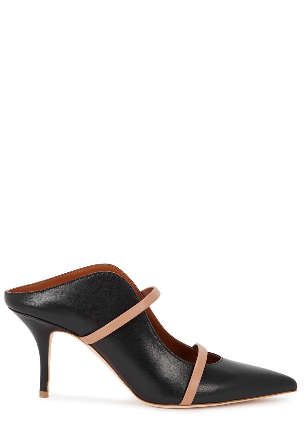Maureen 70 black leather mules