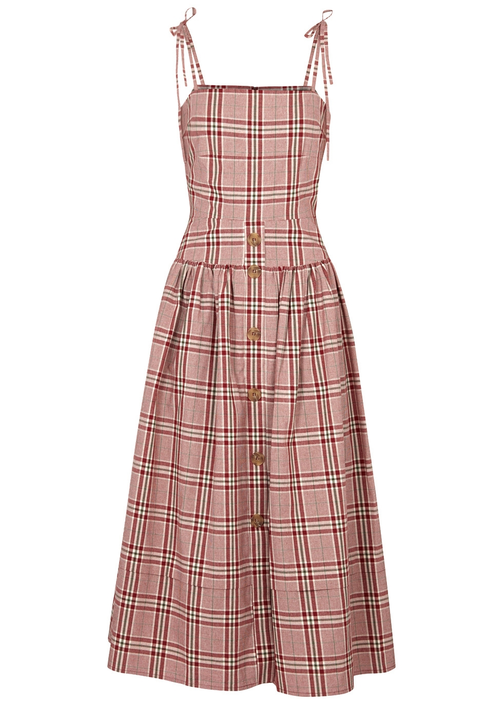 Issy Checked Cotton Midi Dress in Red