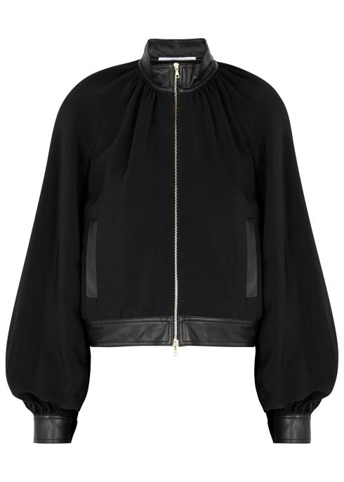 eb038a1ae9d Rosetta Getty Black faux leather-trimmed jacket - Harvey Nichols
