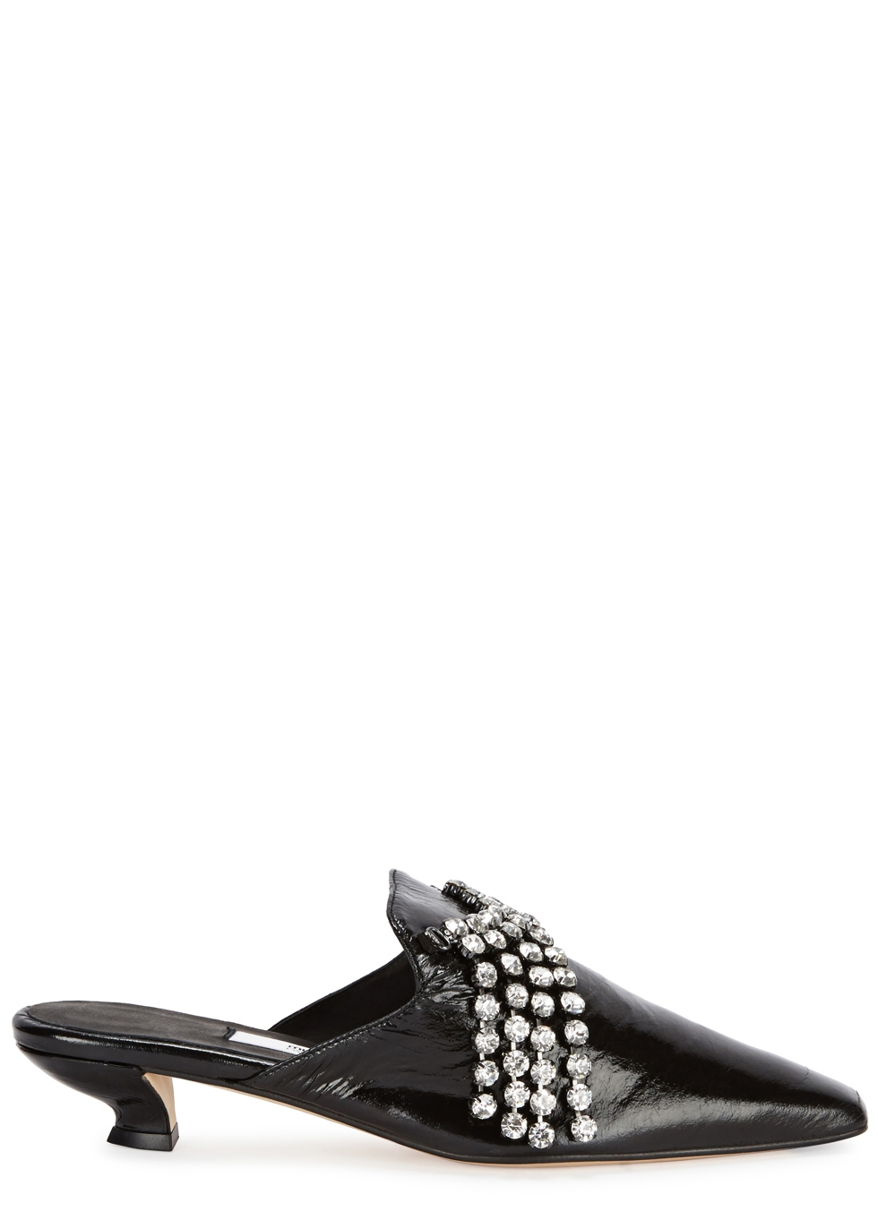 Claudine Embellished Leather Mules, Black