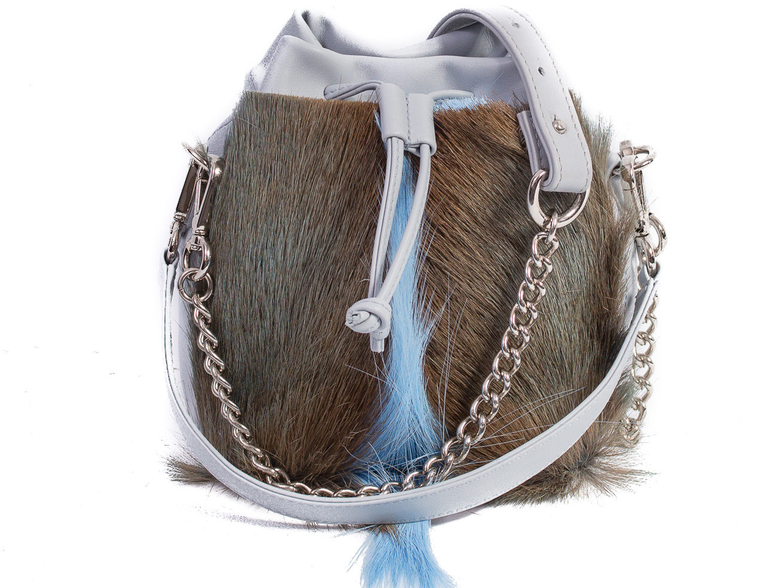 SHERENE MELINDA Baby Blue Lou Lou Pouch Bag With A Fan