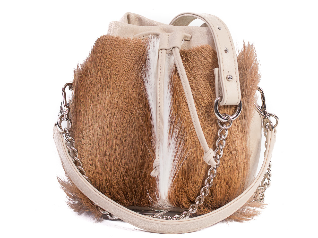 SHERENE MELINDA NATURAL LOU LOU POUCH BAG WITH A FAN