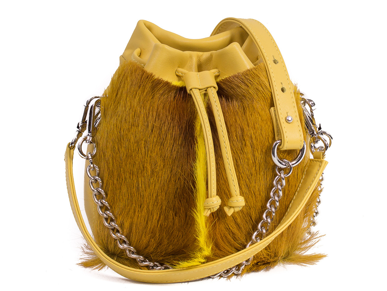 SHERENE MELINDA Yellow Lou Lou Pouch Bag With A Fan