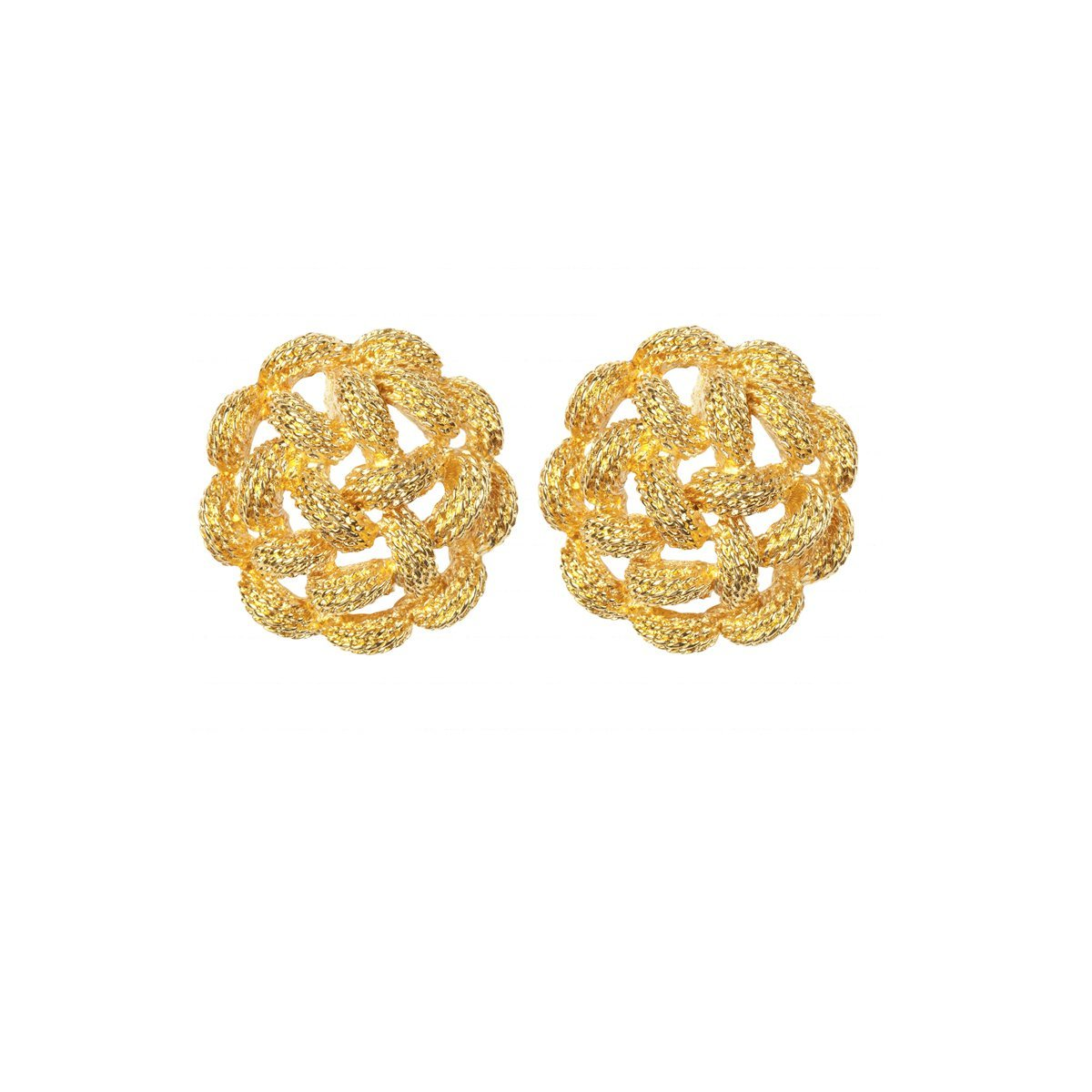 1970S VINTAGE MONET WOVEN ROUND EARRINGS