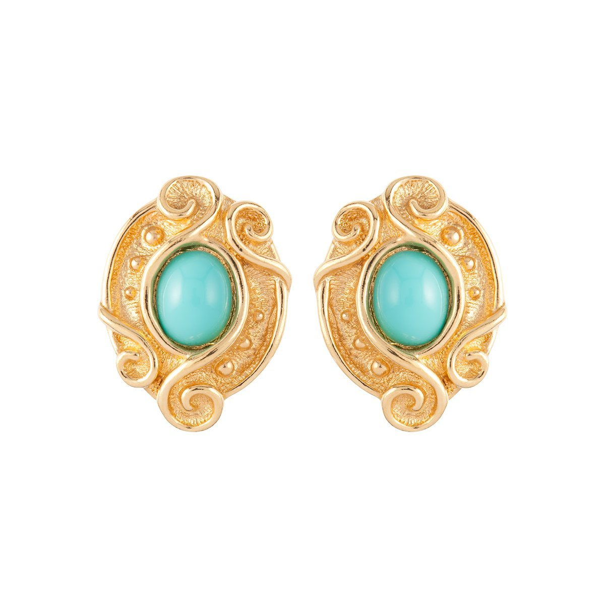 1980S Vintage Christian Dior Faux Turquoise Scroll Clip-On Earrings