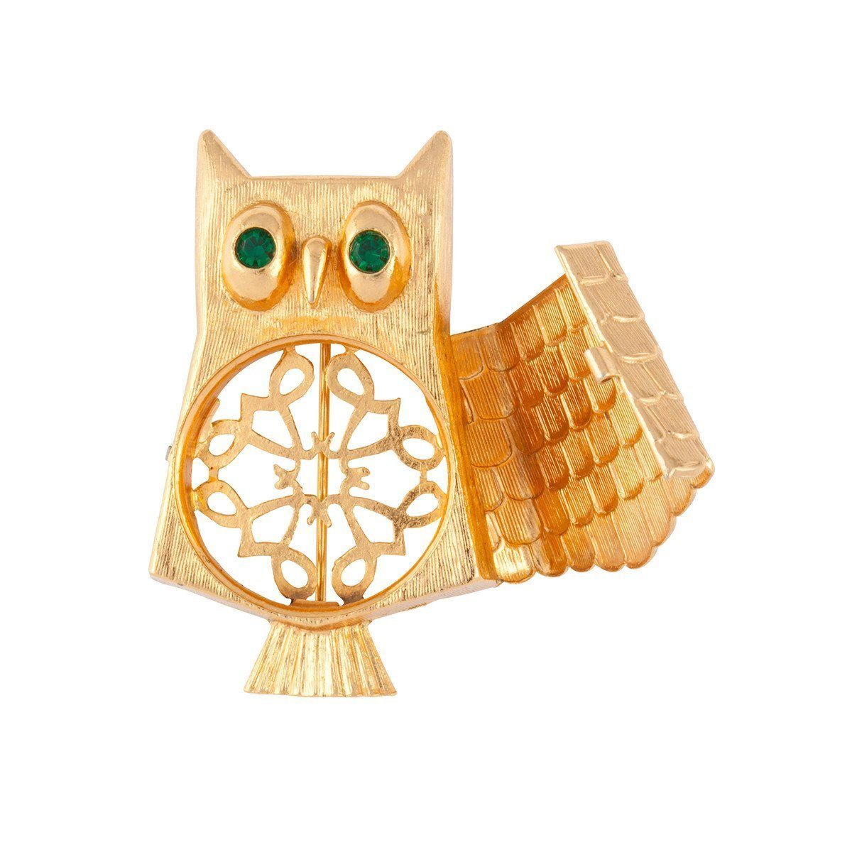 1980S VINTAGE AVON OWL LOCKET BROOCH