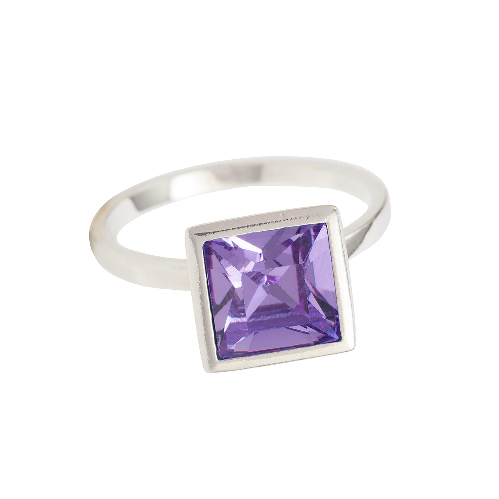 SUSAN CAPLAN CONTEMPORARY STERLING SILVER OZERA RING WITH TANZANITE SWAROVSKI CRYSTAL