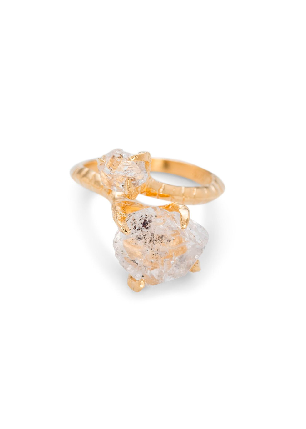 BJ0RG JEWELLERY DOUBLE HERKIMER RING SIZE L
