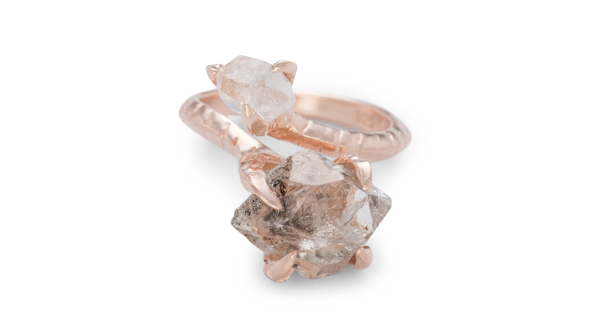 BJ0RG JEWELLERY HERKIMER CLAW RING ROSE GOLD L