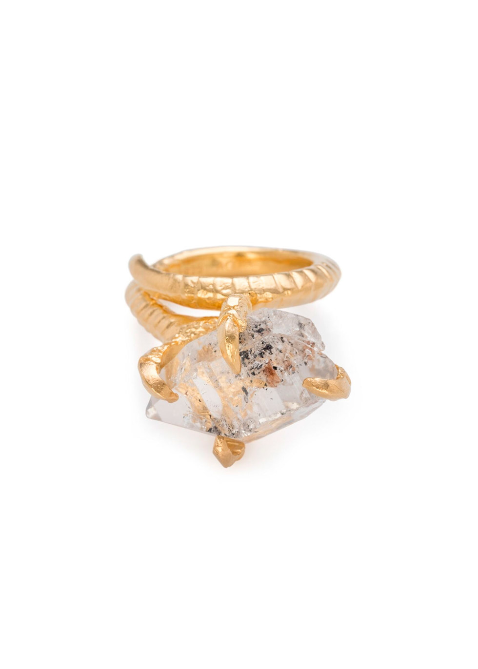 BJ0RG JEWELLERY HERKIMER CLAW RING GOLD SIZE L