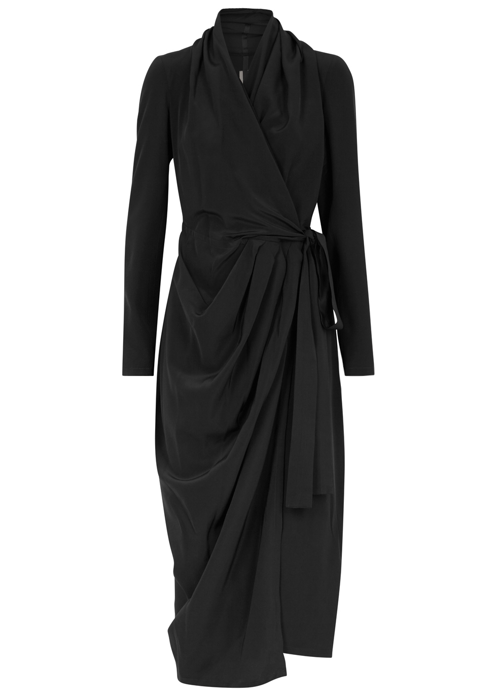Draped Silk Crepe De Chine Wrap Dress, Black