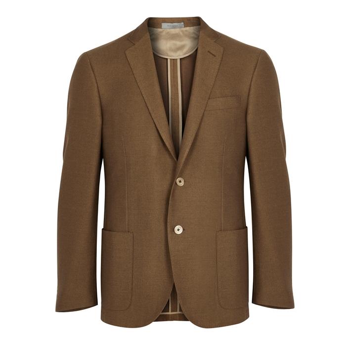 Corneliani Brown Textured Wool-blend Blazer