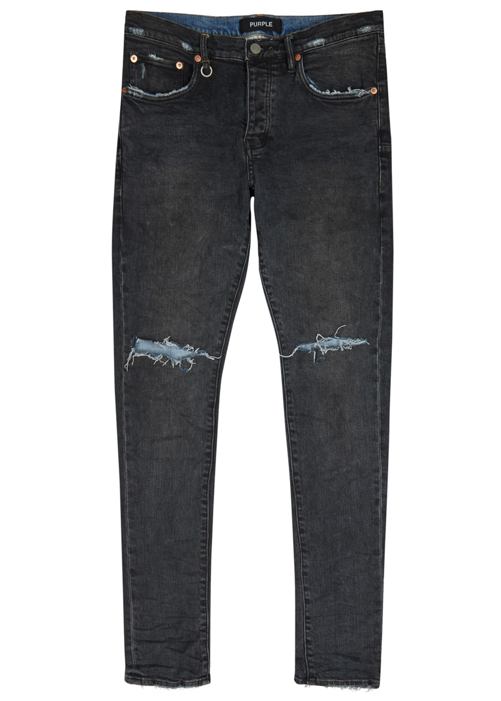 PURPLE 001 Distressed Skinny Jeans in Black